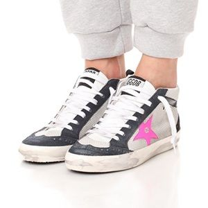 Golden Goose Mid Star Sneakers in Ice & Pink Fluo